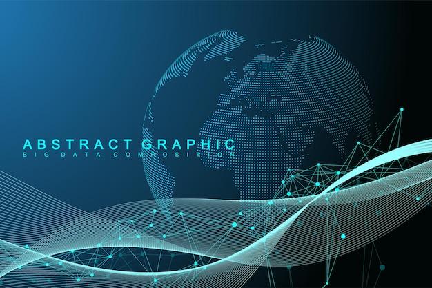 Визуализация больших данных. графический абстрактный фон коммуникации. перспективный фон. минимальный массив. визуализация цифровых данных. представляя глобальное, международное значение. векторная иллюстрация.