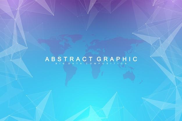 Визуализация больших данных. графический абстрактный фон коммуникации. перспективная визуализация фона. аналитический сетевой комплекс. векторная иллюстрация.