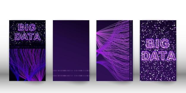 Сеть визуализации больших данных. обложка футуристической инфографики, 3d волны, виртуального потока, цифрового звука, музыки. вектор абстрактные красочные большие данные информации.