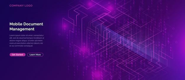 ビッグデータの滝、デジタルバイナリコードのストリーム