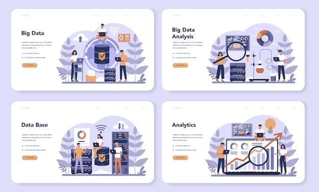 Big data web banner or landing page set. modern computer technology. analyzing digital information from the internet and making better business decisions.