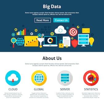 ビッグデータのウェブサイトのデザイン。 webバナーとランディングページのフラットスタイルのベクトルイラスト。