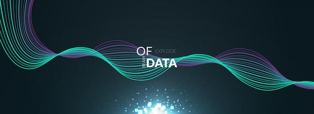 Big data with colorful wave banner