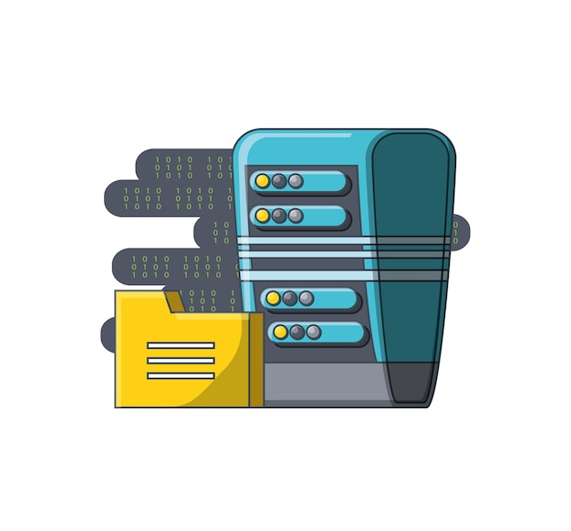 Big data with data center and folder icon