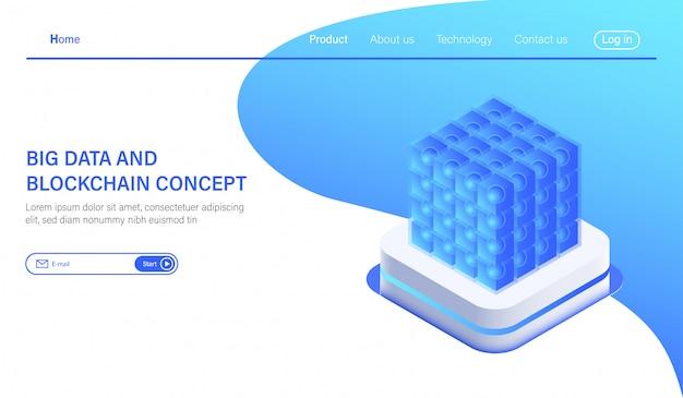 Изометрический хостинг-сервер big data или комната в центре обработки данных