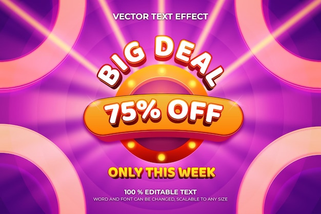 Big deal editable 3d text effect with circle shape purple color background