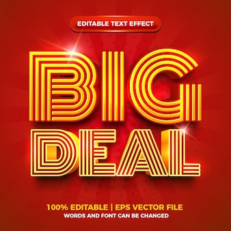 Big deal red gold bold 3d editable text effect