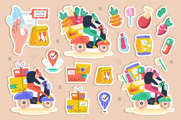 Big delivery set, clip art. mail, box, delivery man, gps, package, bike, purchase. fast shop service. online order. self isolation, protection. flat hand drawn  illustration, stickers, icons.