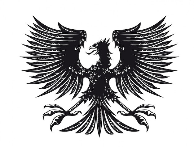 Big detailed eagle for heraldry or tattoo design