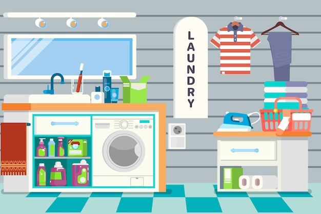 Big detailed interior. functional and comfortable bathroom. laundry basket, clean cloth, washing machine, and detergents.