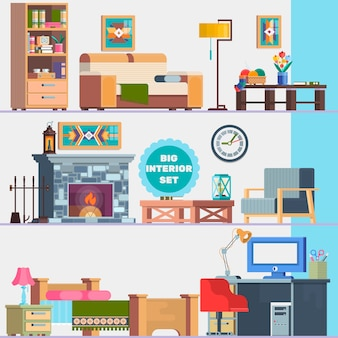 Big detailed Interior set. Home furniture. Interior design. Set of elements cupboard, sofa, fireplace, coffee table, lamp, flowers, pictures. Vector illustration