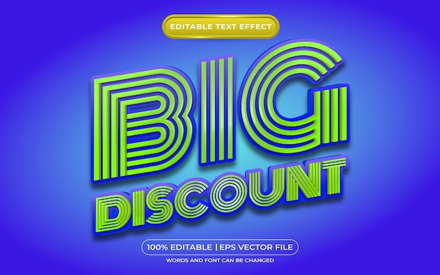 Big discount editable text effect template style