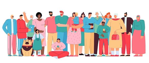 크고 다양한 가족. 서로 다른 연령대와 인종의 다문화 사람들이 함께 서있는 군중. 만화 그림