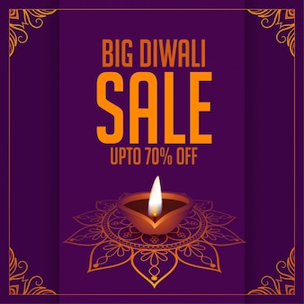 Big diwali festival sale purple decorative background