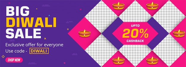 Big diwali (indian festival of lights) sale banner design with an attractive 20% discount offer and coupon code to grab offer.