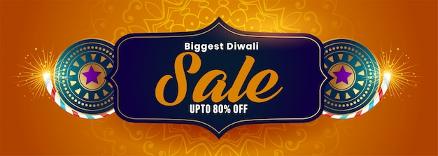 Big diwali sale banner with crackers decoration