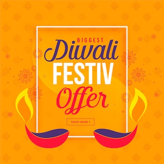 Big diwali sale and offer background with diya