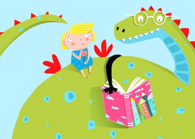 ビッグドラゴンは小さな女の子に本を読んでいます