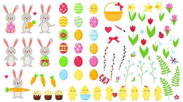 Big easter set. cute kawaii characters: rabbits and chicks. hand drawn flat spring flowers. easter eggs. decoration elements.
