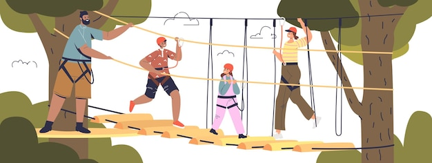 Big family in adventure rope park together: mom, dad and two kids climbing in skypark wearing safety helmets. extreme leisure activity concept. cartoon flat vector illustration