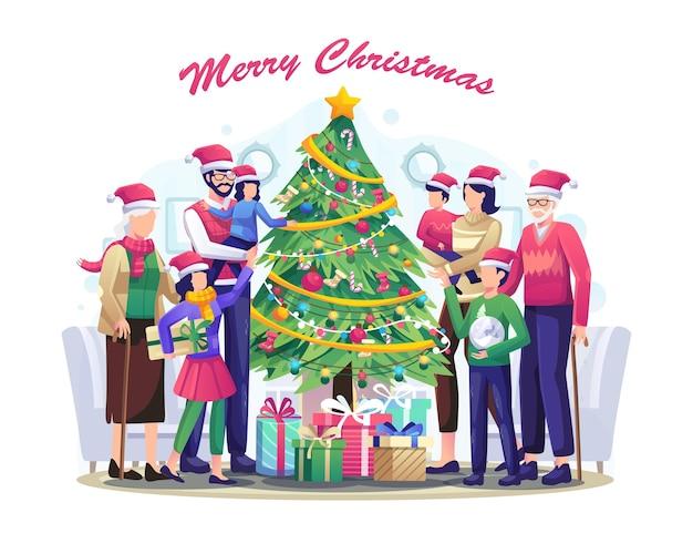 大家族と贈り物のクリスマスツリーは、メリークリスマスと新年あけましておめでとうございますのイラストを祝います