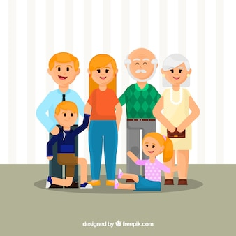 Grande famiglia sullo sfondo in stile piatto