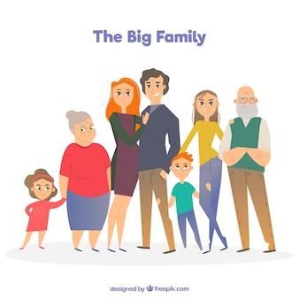 평면 스타일의 큰 가족 배경