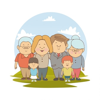 Big family blonded mom executive dad and boy with grandparents