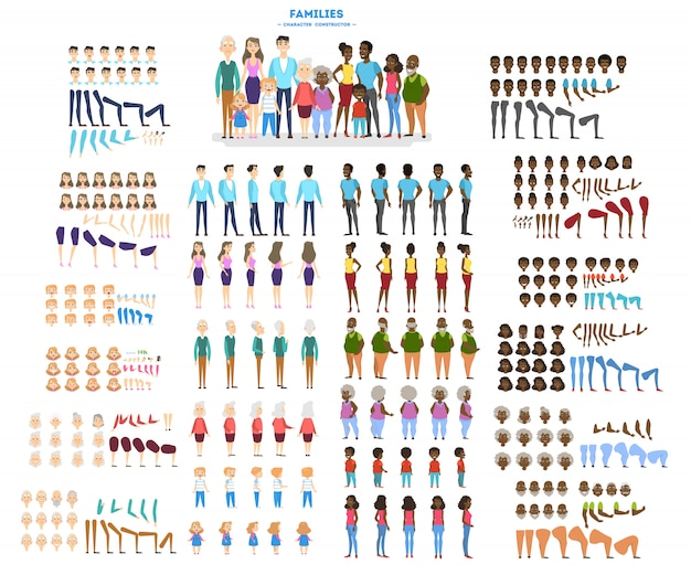 Big family character set for the animation with various views