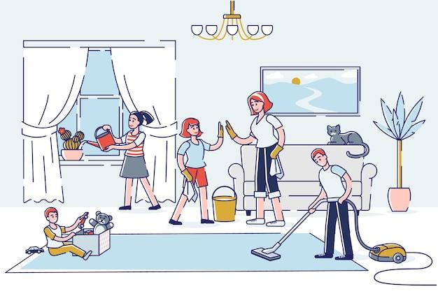 Большая семья убирает дом вместе в гостиной