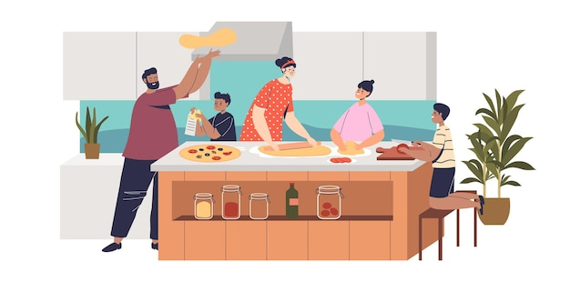 Big family cook pizza at home kitchen. happy parents and kids preparing traditional italian dish, spend time together before dinner. cartoon flat vector illustration