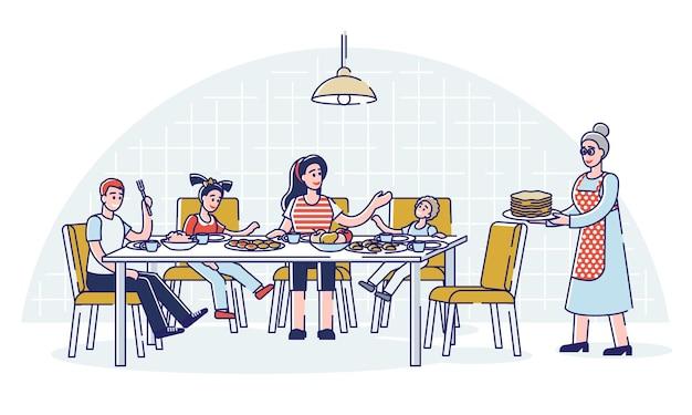 부모와 함께하는 큰 가족 저녁 식사