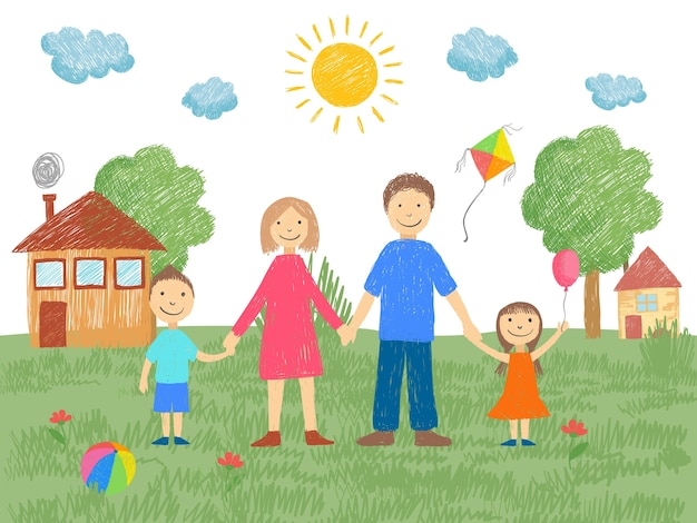 Big family. father mother brother standing near house grass and sun summer background kids hand drawn style. illustration of mother and father, brother and sister