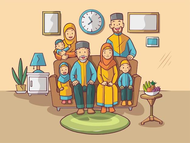 大家族集いイラスト
