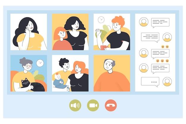 Grande famiglia che fa videochiamate da casa tramite telefono o computer