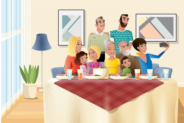 Big family holiday dinner at home cartoon vector