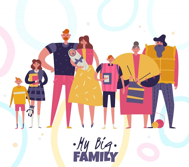 Big family illustration