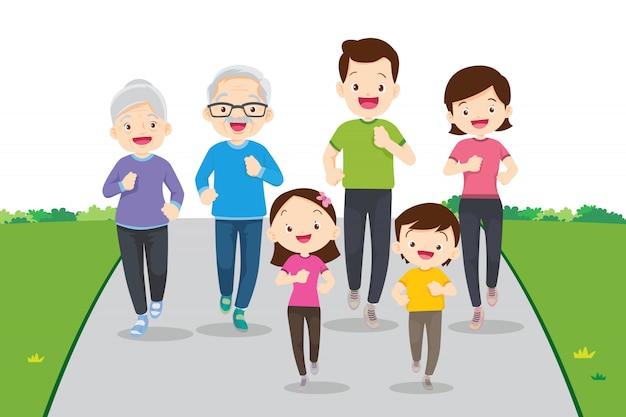 큰 가족 조깅과 함께 운동