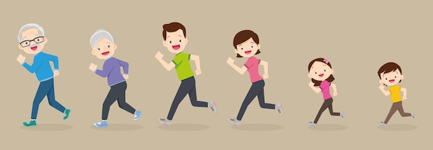Big family jogging exercising together grandfather grandmother father mother daughter son