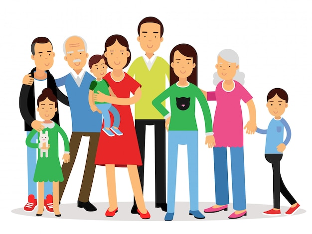 큰 가족, 엄마, 아빠, 아이들과 조부모 일러스트