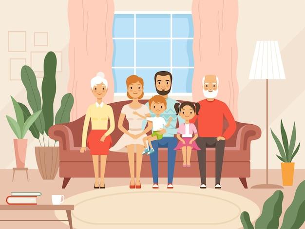 대가족. 어머니 아버지 아이들과 조부모는 거실에 앉아 웃는 얼굴을 하는 행복한 캐릭터입니다. 벡터 만화 배경입니다. 행복한 가족은 소파, 할머니, 할아버지 그림에 앉아 있습니다.
