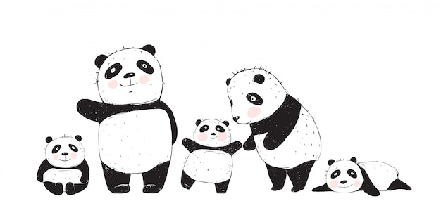 Big family of pandas parents and kids