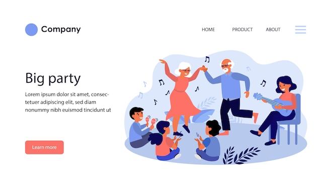 큰 가족 파티. 웹 사이트 템플릿 레이아웃