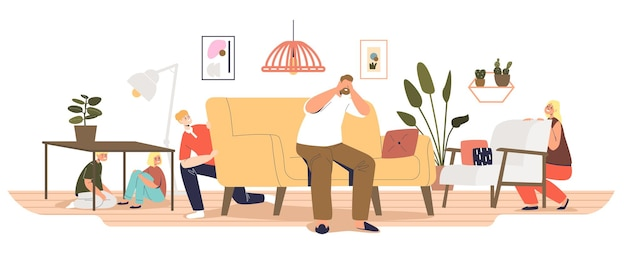 Big family play hide and seek at home. dad count with closed eyes and kids hiding in living room. happy parent and children leisure activity indoors. cartoon flat vector illustration