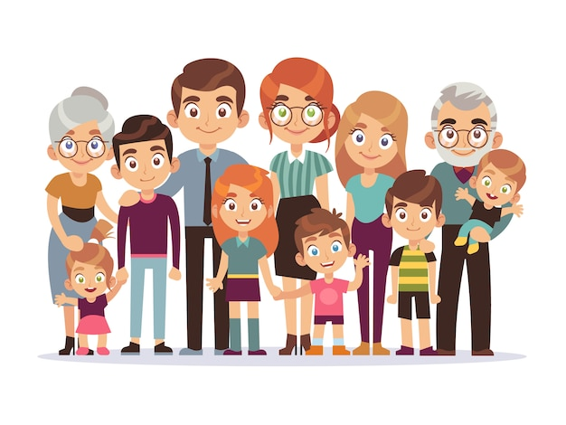 Большой семейный портрет. счастливые люди характер образ жизни мать отец дети бабушка и дедушка подростки дети собака, иллюстрация