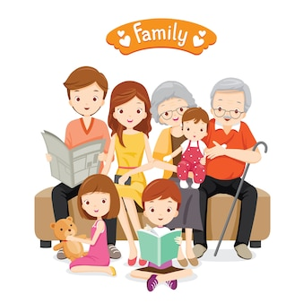 Big family sitting on sofa and floor, relaxing and happy
