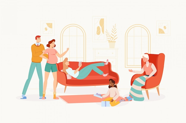 The big family spends time together at home.
