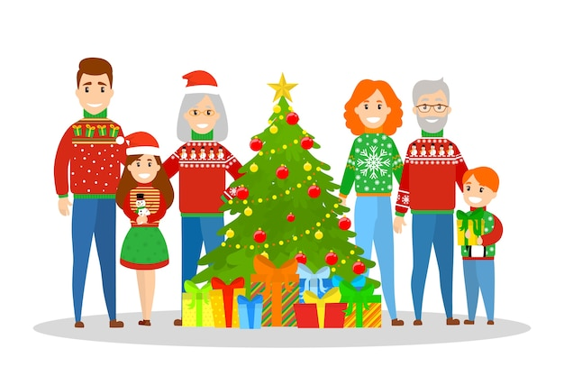 Big family in sweater standing at the christmas tree. traditional holiday decoration for party. happy people at home with gifts. xmas party.   illustration