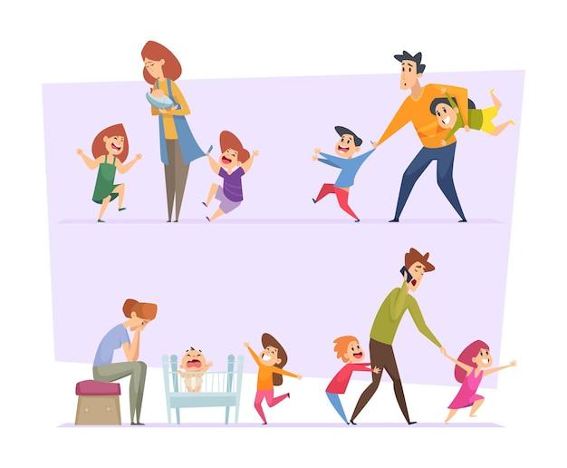 Большая семья. усталые родители с сумасшедшими счастливыми забавными активными детьми в позах действий. вектор люди отец мать детей. иллюстрация семьи родителей устал и детей