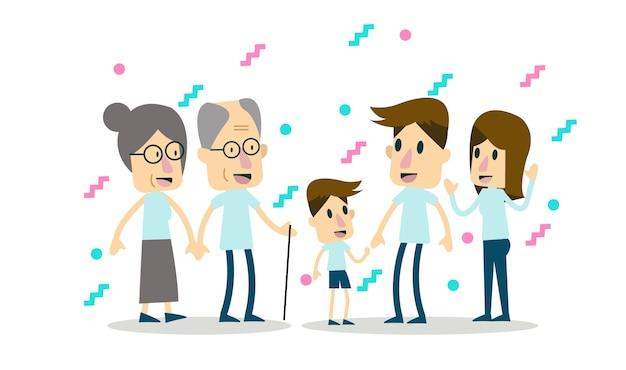 Большая семья вместе. плоский дизайн персонажей